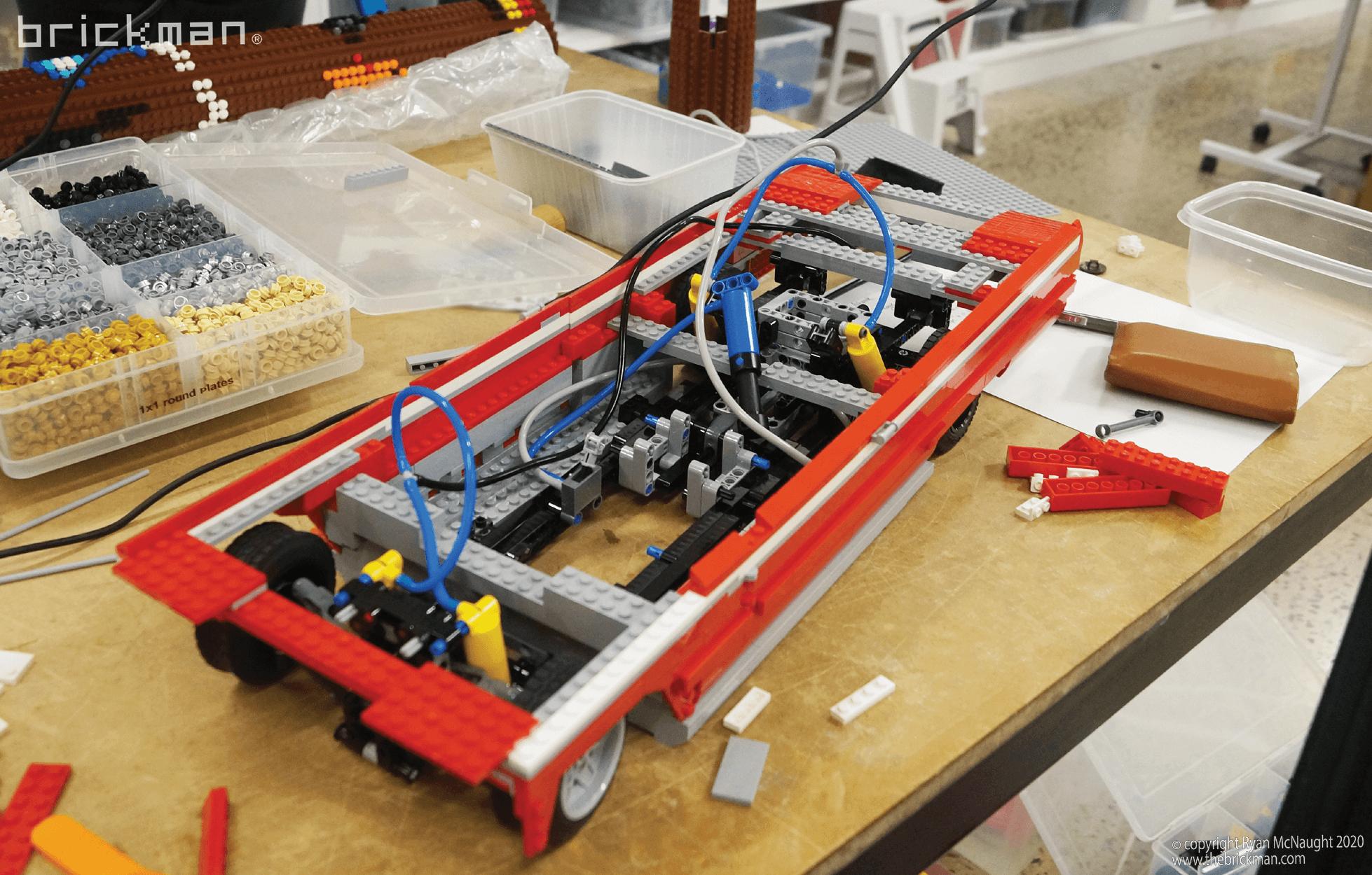 Los Brickos LEGO brick Lowrider Pnuematic suspension WIP