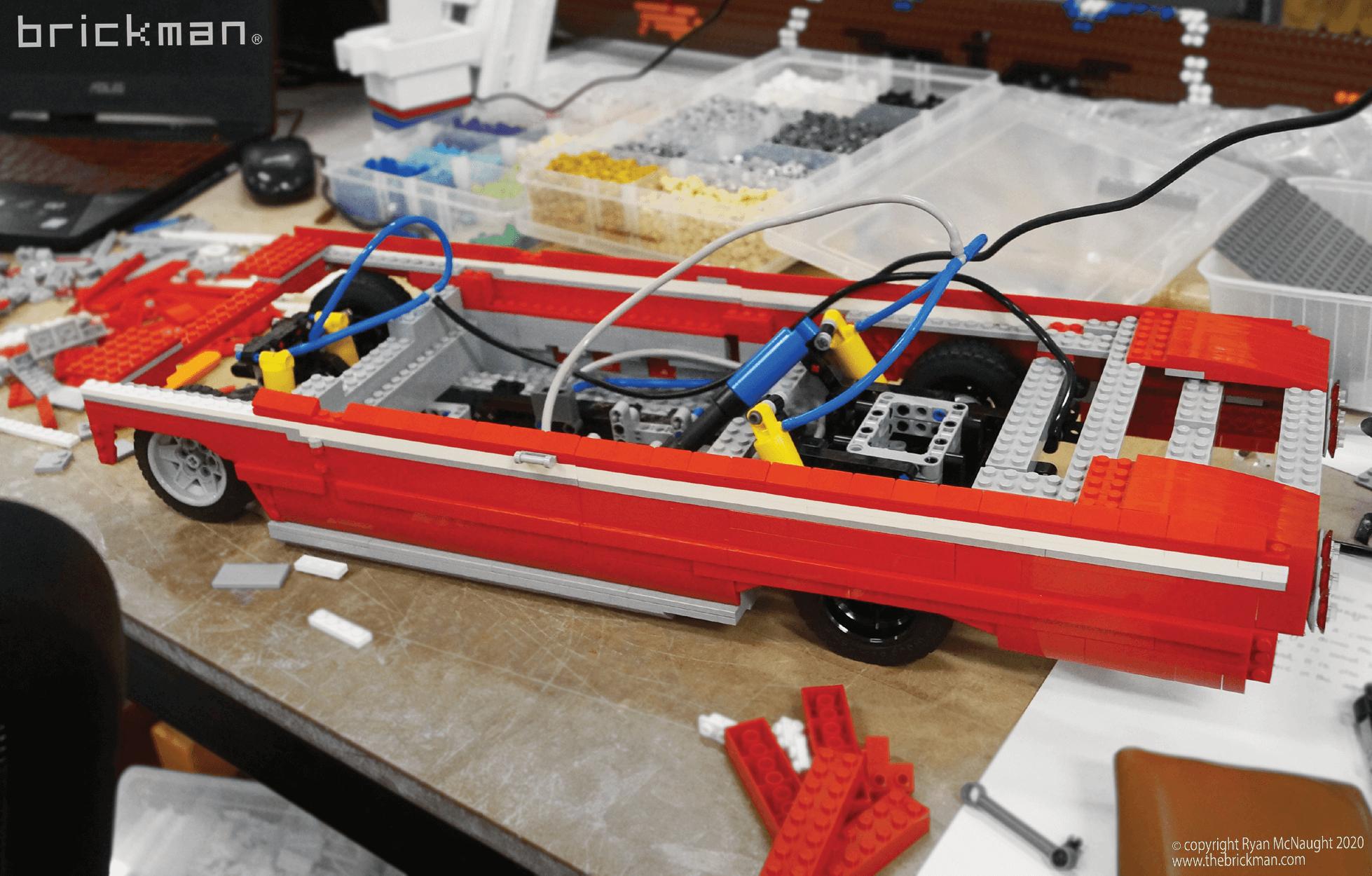 Los Brickos LEGO brick Lowrider Pnuematic suspension WIP 2