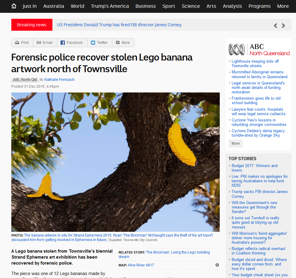 ABC report on Stolen LEGO Bananas