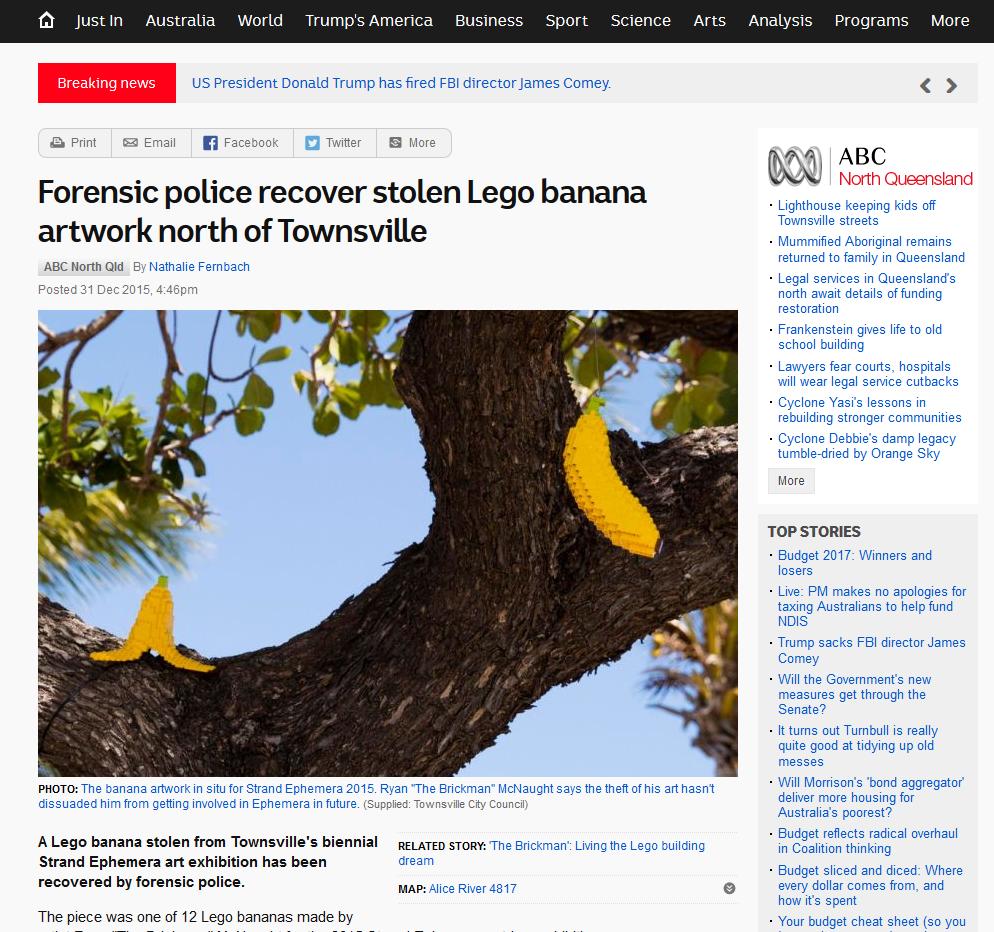ABC report on Stolen LEGO Bananas